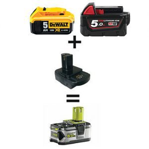 milwaukee dewalt to ryobi one+ 18v battery adapter converter