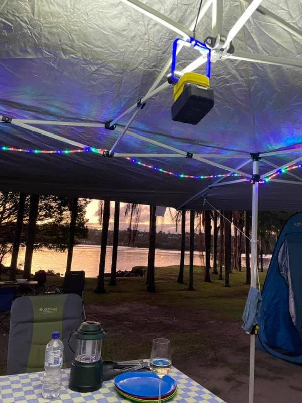 Makita 18V led light in gazebo camping